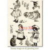 Victorian Girls with Kittens Rubber Cling Stamp by Deep Red Stamps shown on A2 card