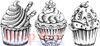 Cupcake Border Cling Stamp by Deep Red Stamps