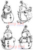 Snowman Collection Cling Stamp by Deep Red Stamps
