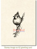 Tufted Titmouse Cling Stamp by Deep Red Stamps shown on A2 card