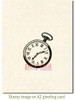 Pocket Watch Rubber Cling Stamp by Deep Red Stamps shown on A2 card
