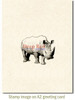 Rhinoceros Rubber Cling Stamp by Deep Red Stamps shown on A2 card