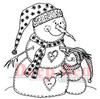 Snowman Hugs Rubber Cling Stamp by Deep Red Stamps