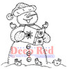 Snowman Caroling Rubber Cling Stamp by Deep Red Stamps