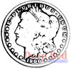 Silver Dollar Rubber Cling Stamp by Deep Red Stamps