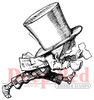 Mad Hatter Running Rubber Cling Stamp by Deep Red Stamps