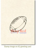 Football Rubber Cling Stamp by Deep Red Stamps shown on A2 card