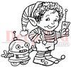 Elf Robot Rubber Cling Stamp by Deep Red Stamps