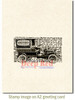 Vintage Delivery Truck Rubber Cling Stamp by Deep Red Stamps shown on A2 card