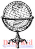 Antique Globe Rubber Cling Stamp by Deep Red Stamps