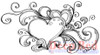 Heart Flourish Splash Rubber Cling Stamp by Deep Red Stamps