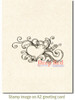 Heart Flourish Splash Rubber Cling Stamp by Deep Red Stamps shown on A2 card