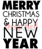 Merry Christmas Happy New Year Rubber Cling Stamp by Deep Red Stamps