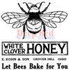 Honey Bee Vintage Label Rubber Cling Stamp