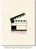 Movie Clapper Rubber Cling Stamp by Deep Red Stamps shown on A2 card