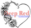 Heart with Roses Rubber Cling Stamp by Deep Red Stamps
