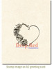 Heart with Roses Rubber Cling Stamp by Deep Red Stamps shown on A2 card