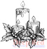 Holiday Candles Rubber Cling Stamp