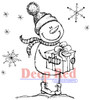 Snow Boy with Gift Rubber Cling Stamp