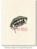 Vampire SWAK Rubber Cling Stamp by Deep Red Stamps shown on A2 card