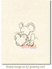 Big Heart Mousie Rubber Cling Stamp by Deep Red Stamps shown on A2 card