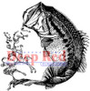 Large Mouth Bass Rubber Cling Stamp by Deep Red Stamps
