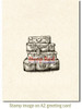 Luggage Rubber Cling Stamp by Deep Red Stamps shown on A2 card