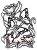 Butterfly Garden Rubber Cling Stamp by Deep Red Stamps
