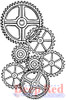 Gears Background Rubber Cling Stamp by Deep Red Stamps