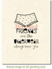 Friends and Underwear Rubber Cling Stamp by Deep Red Stamps shown on A2 card