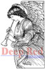 Angel with Flute Rubber Cling Stamp by Deep Red Stamps
