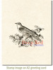 Bird and Holly Rubber Cling Stamp by Deep Red Stamps shown on A2 card