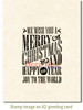 Grungy Christmas Wishes Rubber Cling Stamp by Deep Red Stamps shown on A2 card