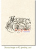 Vintage Merry Christmas Rubber Cling Stamp by Deep Red Stamps shown on A2 card