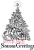 Seasons' Greetings Tree Rubber Cling Stamp by Deep Red Stamps