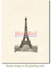 Vintage Paris Eiffel Tower Rubber Cling Stamp by Deep Red Stamps shown on A2 card