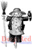 Scarecrow with Crow Rubber Cling Stamp by Deep Red Stamps