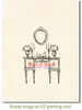 Antique Dressing Table Rubber Cling Stamp by Deep Red Stamps shown on A2 card