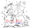 Snow Couple Rubber Cling Stamp by Deep Red Stamps