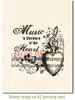 Music of the Heart Rubber Cling Stamp by Deep Red Stamps shown on A2 card