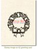 Holly Wreath Rubber Cling Stamp by Deep Red Stamps shown on A2 card