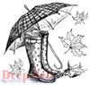 Galoshes and Umbrella Rubber Cling Stamp by Deep Red Stamps