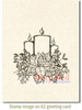 Poinsettia Candles Rubber Cling Stamp by Deep Red Stamps shown on A2 card