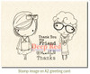 Little Cuties Thanks Rubber Cling Stamp by Deep Red Stamps shown on A2 card