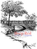 Stone Bridge Rubber Cling Stamp by Deep Red Stamps