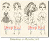 City Girls Night Out Rubber Cling Stamp by Deep Red Stamps shown on A2 card