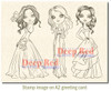 City Girls Formal Affair Rubber Cling Stamp by Deep Red Stamps shown on A2 card