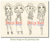 City Girls Casual Friday Rubber Cling Stamp by Deep Red Stamps shown on A2 card