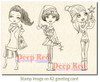 City Girls Holiday Cheer Rubber Cling Stamp by Deep Red Stamps shown on A2 card