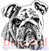 Bulldog Portrait Rubber Cling Stamp